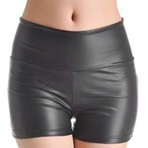High Waisted Wet Look Shorts S-M